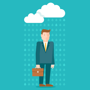 Vector bad day concept in flat style - businessman under the rain cloud - depressed and tiredのイラスト素材 [FYI03084615]