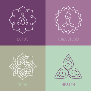 Vector yoga icons and round line badges - graphic design elements in outline style  or logo templateのイラスト素材 [FYI03084616]