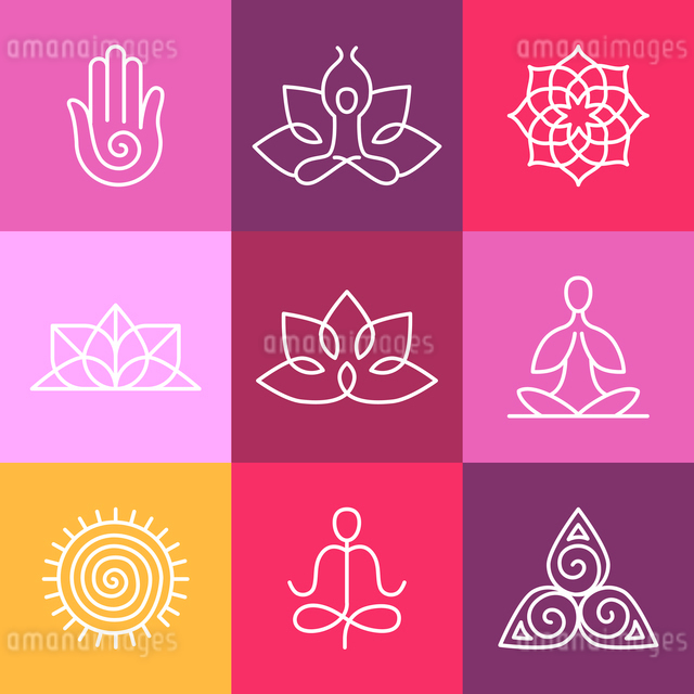 Vector yoga icons and round line badges - graphic design elements in outline style  or logo templateのイラスト素材 [FYI03084617]