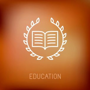 Vector line book icon with wreath - education concept and logo design elementのイラスト素材 [FYI03084618]