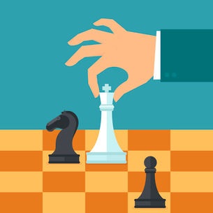 Vector business strategy concept in flat style - male hand holding chess figure - planning and managのイラスト素材 [FYI03084619]