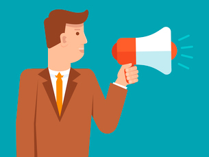 Vector marketing and advertising concept in flat style - businessman holding loudspeakerのイラスト素材 [FYI03084628]
