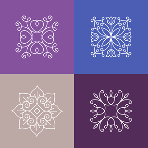 Vector abstract emblems - outline monograms - ecology signs and icons - logo design templates for flのイラスト素材 [FYI03084629]