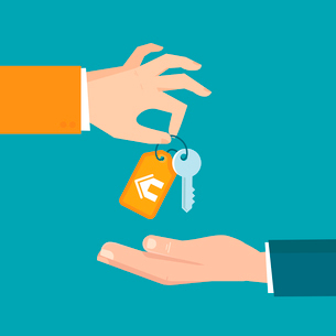 Vector real estate concept in flat style - hands giving keys - sell house iconのイラスト素材 [FYI03084631]