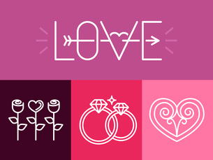 Vector outline love signs and logos - set of wedding design elementsのイラスト素材 [FYI03084632]