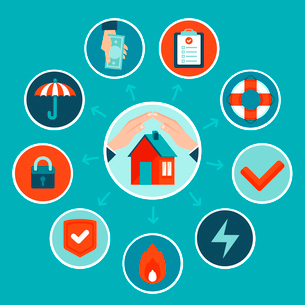 Vector house insurance concept in flat style - infographic design elements and iconsのイラスト素材 [FYI03084634]