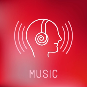 Vector music logo in outline style - head with headphonesのイラスト素材 [FYI03084636]