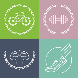 Vector sport logos in outline style - set of badges and design elements for fitness clubsのイラスト素材 [FYI03084642]