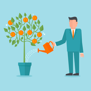 Vector investment concept in flat style - businessman watering money treeのイラスト素材 [FYI03084648]