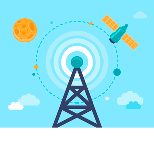 Vector antenna tower and satellite icons in flat style - global communication conceptのイラスト素材 [FYI03084649]