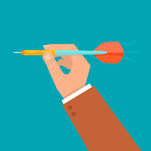 Vector hand holding dart - aiming at the business target - illustration in flat styleのイラスト素材 [FYI03084651]