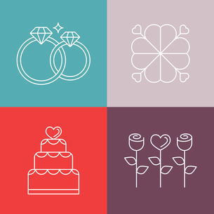 Vector wedding icons in outline style - logo design template for engagement invitationのイラスト素材 [FYI03084654]