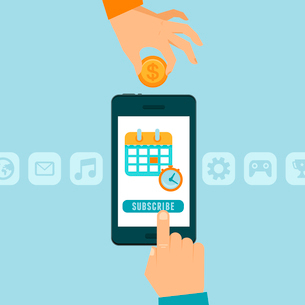 Vector subscription business model concept in flat style - mobile phone with button subscribe - appのイラスト素材 [FYI03084656]