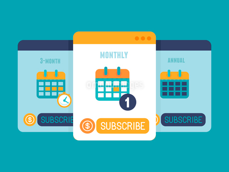 Vector subscription business model concept in flat style - pricing plan for app or website serviceのイラスト素材 [FYI03084657]