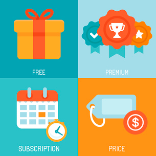 Vector set of flat icons - distribution of digital content - different business models - free, premiのイラスト素材 [FYI03084659]
