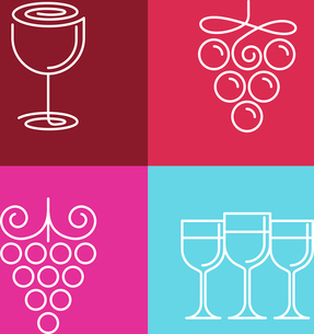 Vector wine line icons and logos - set of outline emblems and design elements for vineyardのイラスト素材 [FYI03084661]