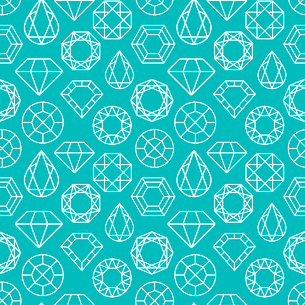 Vector seamless pattern with diamonds and precious stones in turquoise colorのイラスト素材 [FYI03084662]