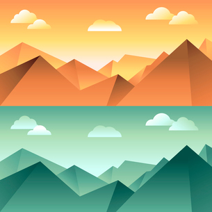 Vector mountain landscape in different light and color - illustration in flat style for horizontal bのイラスト素材 [FYI03084673]