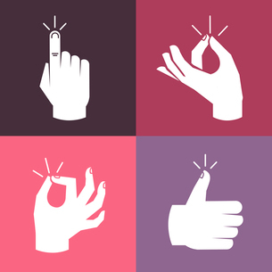 Vector set of hands and gestures in flat style- magic snap, okay signのイラスト素材 [FYI03084676]
