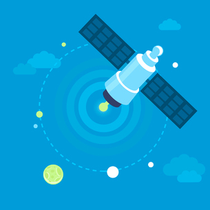 Vector satellite concept in flat style in blue sky - communication and broadcastingのイラスト素材 [FYI03084679]