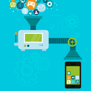 Vector infographics in flat style - app development for mobile phone - programming and creating applのイラスト素材 [FYI03084680]
