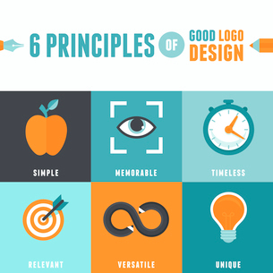 Vector infographics in flat style - 6 principles of good logo designのイラスト素材 [FYI03084682]