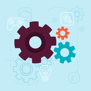Vector app development concept in flat style - gears and mechanism on blue background with icons andのイラスト素材 [FYI03084684]