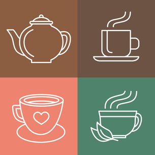 Vector tea and coffee logo templates in outline style - icons and signsのイラスト素材 [FYI03084685]