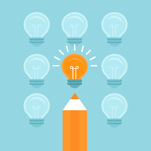 Vector marketing concept in flat style - stand out from the crowd - bright light bulb and pencilのイラスト素材 [FYI03084686]