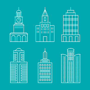 Vector set outline buildings and houses - line design elementsのイラスト素材 [FYI03084688]