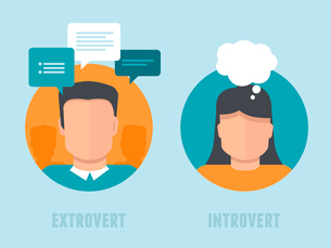 Vector extraversion-introversion infographics in flat style - man and woman with different personaliのイラスト素材 [FYI03084694]