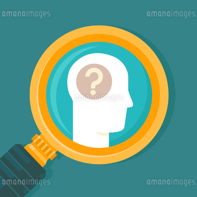 Vector psychology concept in flat style - human brain icon and magnifierのイラスト素材 [FYI03084700]