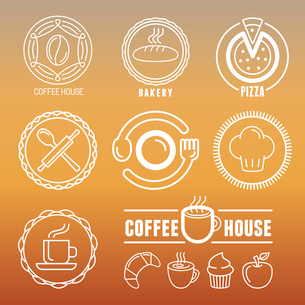 Vector bakery and pastry emblems and icons in outline style - abstract logo design elements for cafeのイラスト素材 [FYI03084705]