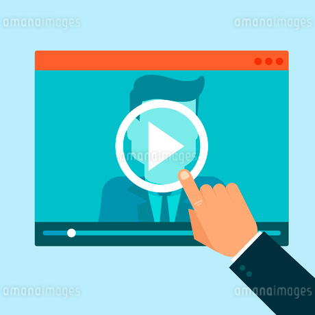 Vector webinar concept in flat style - video player - online educationのイラスト素材 [FYI03084709]