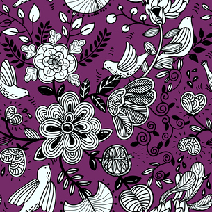 vector floral  seamless pattern with abstract birds and flowers on a violet backgroundのイラスト素材 [FYI03084754]
