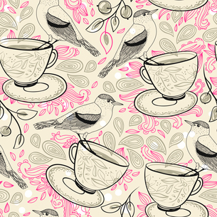 vector seamless pattern with birds and cupsのイラスト素材 [FYI03084757]