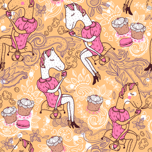 vector seamless pattern with funny white horses drinking teaのイラスト素材 [FYI03084761]