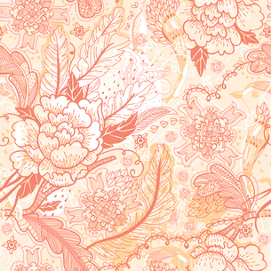 vector seamless floral pattern with vintage roses and feathersのイラスト素材 [FYI03084871]