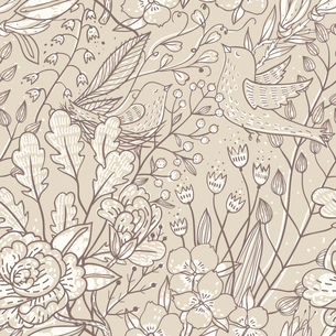vector floral seamless pattern with plants and birds on a beige backgroundのイラスト素材 [FYI03084921]