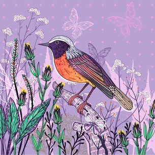 vector floral  illustration of a bird and blooming plants on a violet backgroundのイラスト素材 [FYI03084981]