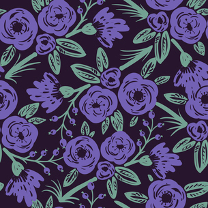 vector floral seamless pattern with abstract violet rosesのイラスト素材 [FYI03084996]
