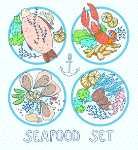 vector set of  hand drawn plates with sea foodのイラスト素材 [FYI03085001]