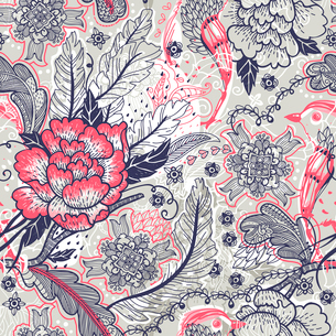 vector floral seamless pattern with vintage roses and feathersのイラスト素材 [FYI03085017]