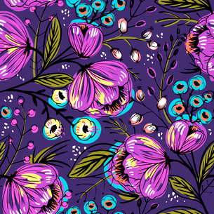 vector floral seamless pattern with violet blooming flowersのイラスト素材 [FYI03085027]