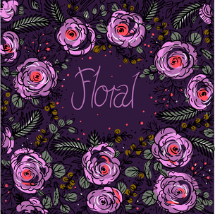 vector floral background with violet rosesのイラスト素材 [FYI03085059]