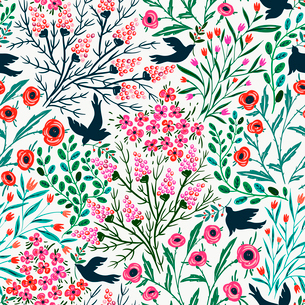vector floral seamless pattern with summer blooms and abstract birdsのイラスト素材 [FYI03085060]