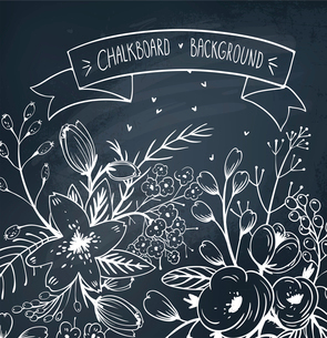 chalkboard vector floral  backgroundのイラスト素材 [FYI03085065]