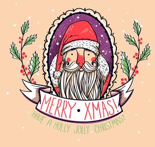 vector hand drawn portrait of Santaのイラスト素材 [FYI03085203]