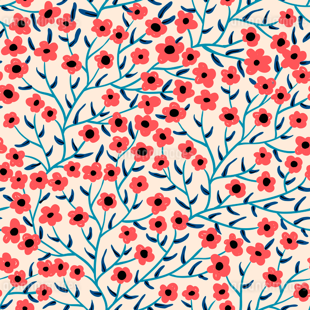 vector floral seamless pattern with abstract blooming flowersのイラスト素材 [FYI03085224]