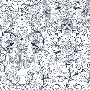 vector floral seamless pattern with vintage roses,skulls and mermaidsのイラスト素材 [FYI03085233]